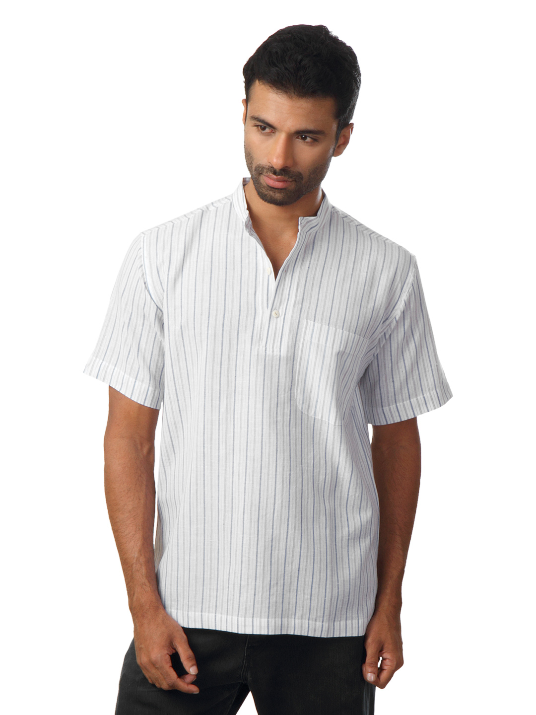 Fabindia Men Striped White Kurta