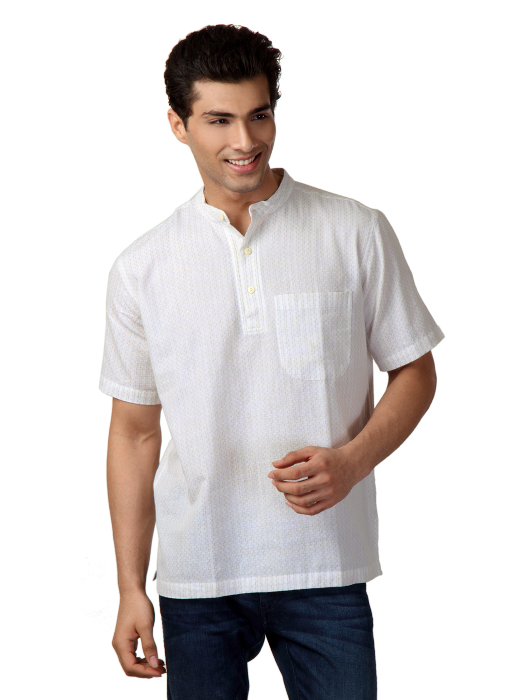 Fabindia Men White Tanka Cross Kurta
