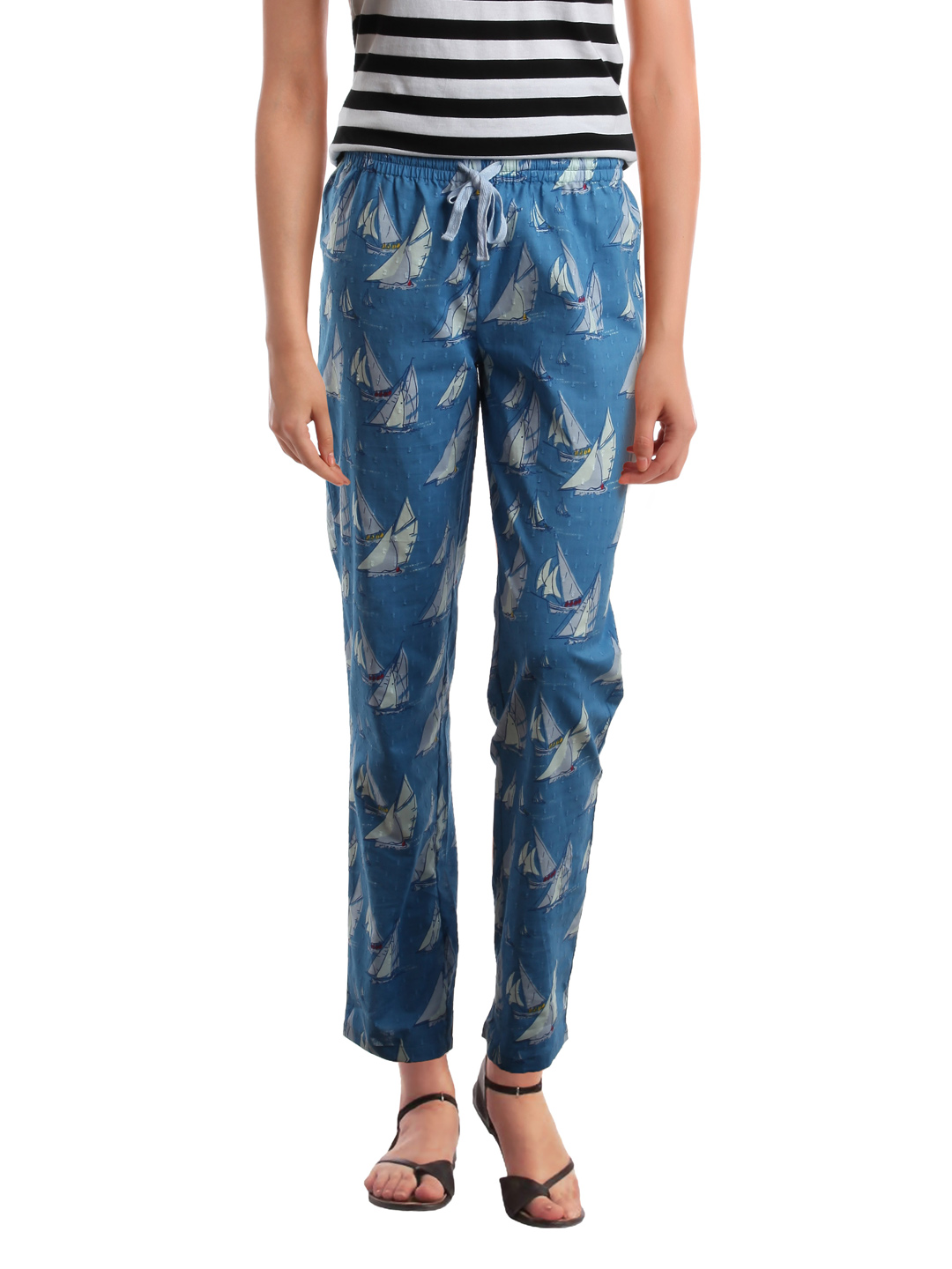 Femella Women Printed Blue Lounge Pants