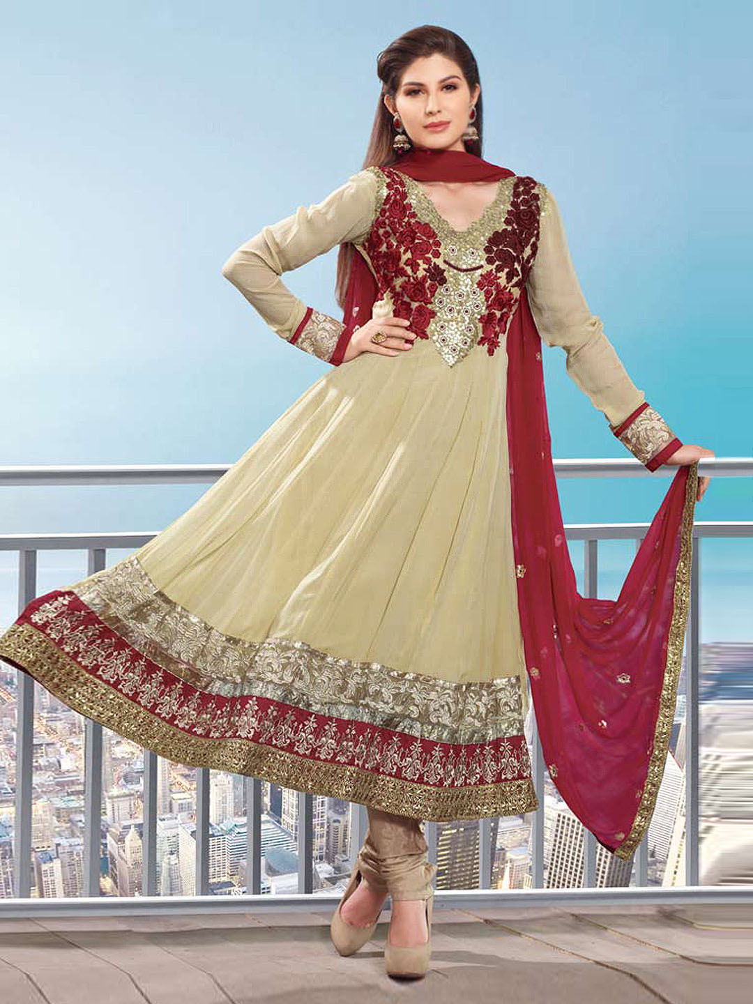 Hiba Beige Georgette Embroidered Semi-Stitched Dress Material