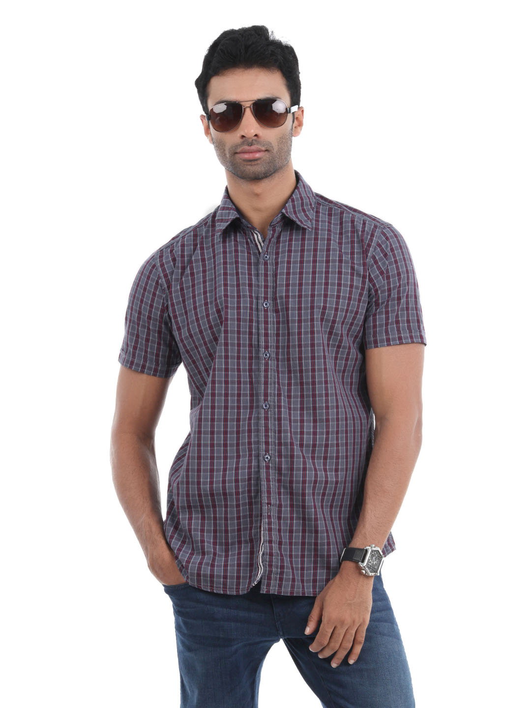 Highlander Men Grey Check Shirt
