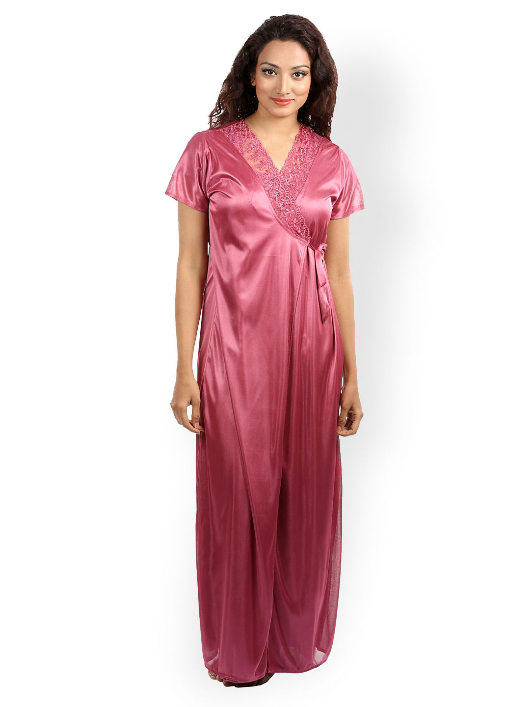 Cool Womens Lace Trimed Satin Long Gown Slips Night Gown Dress Sleepwear Nightwear | EBay