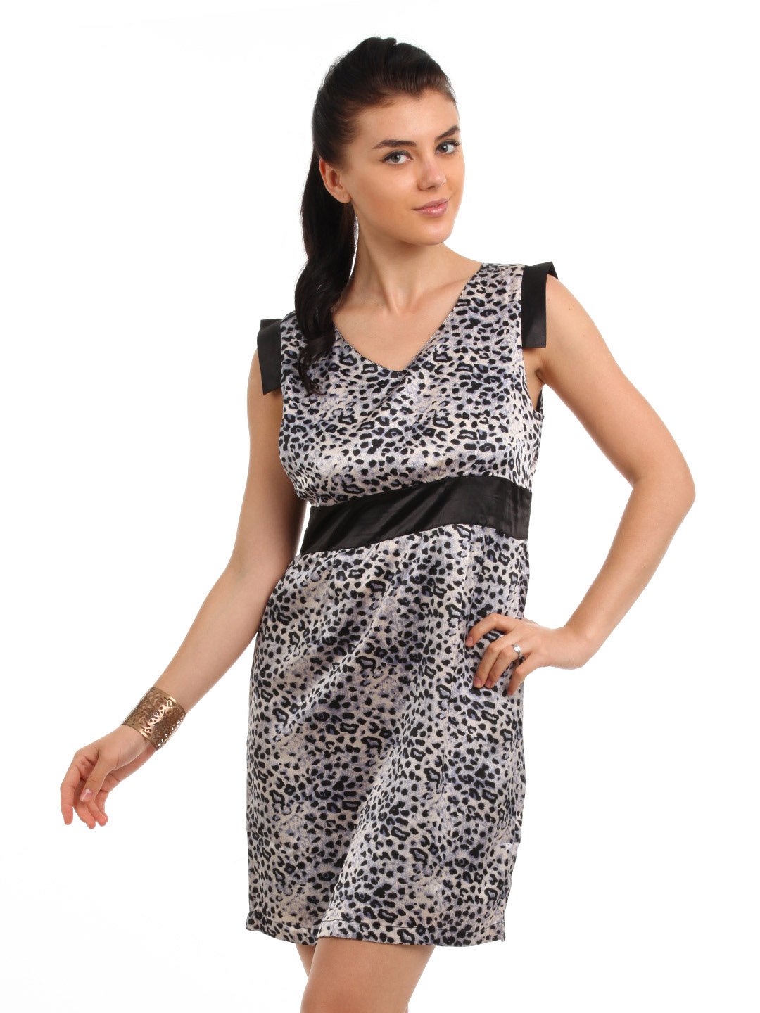 Latin Quarters Women Black Printed Dress