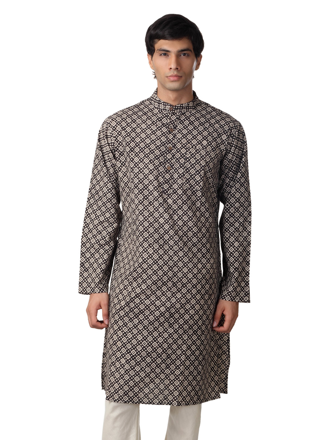 Mother Earth Men Black Printed Kurta