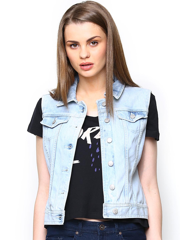 Buy ONLY Women Blue Denim Sleeveless Jacket - Jackets for Women
