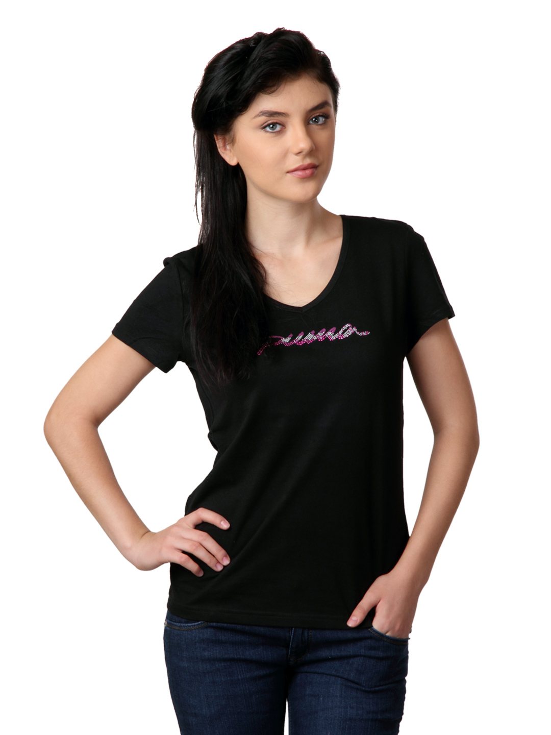 Puma Women Black T-shirt
