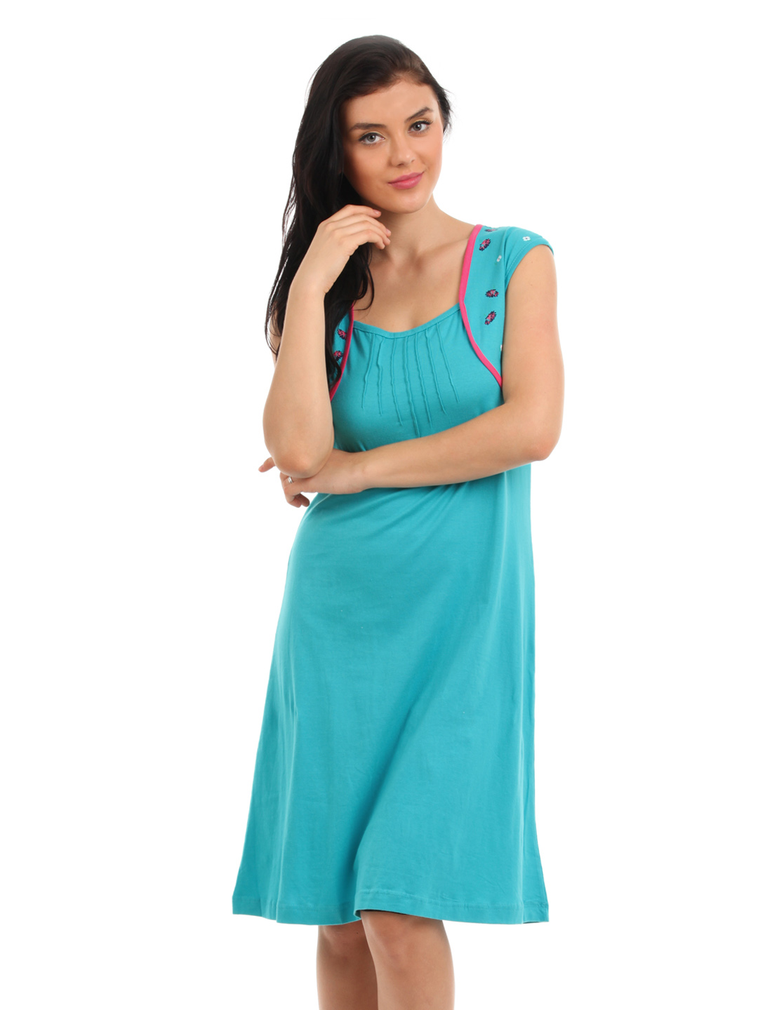 Red Rose Women Blue Nightdress