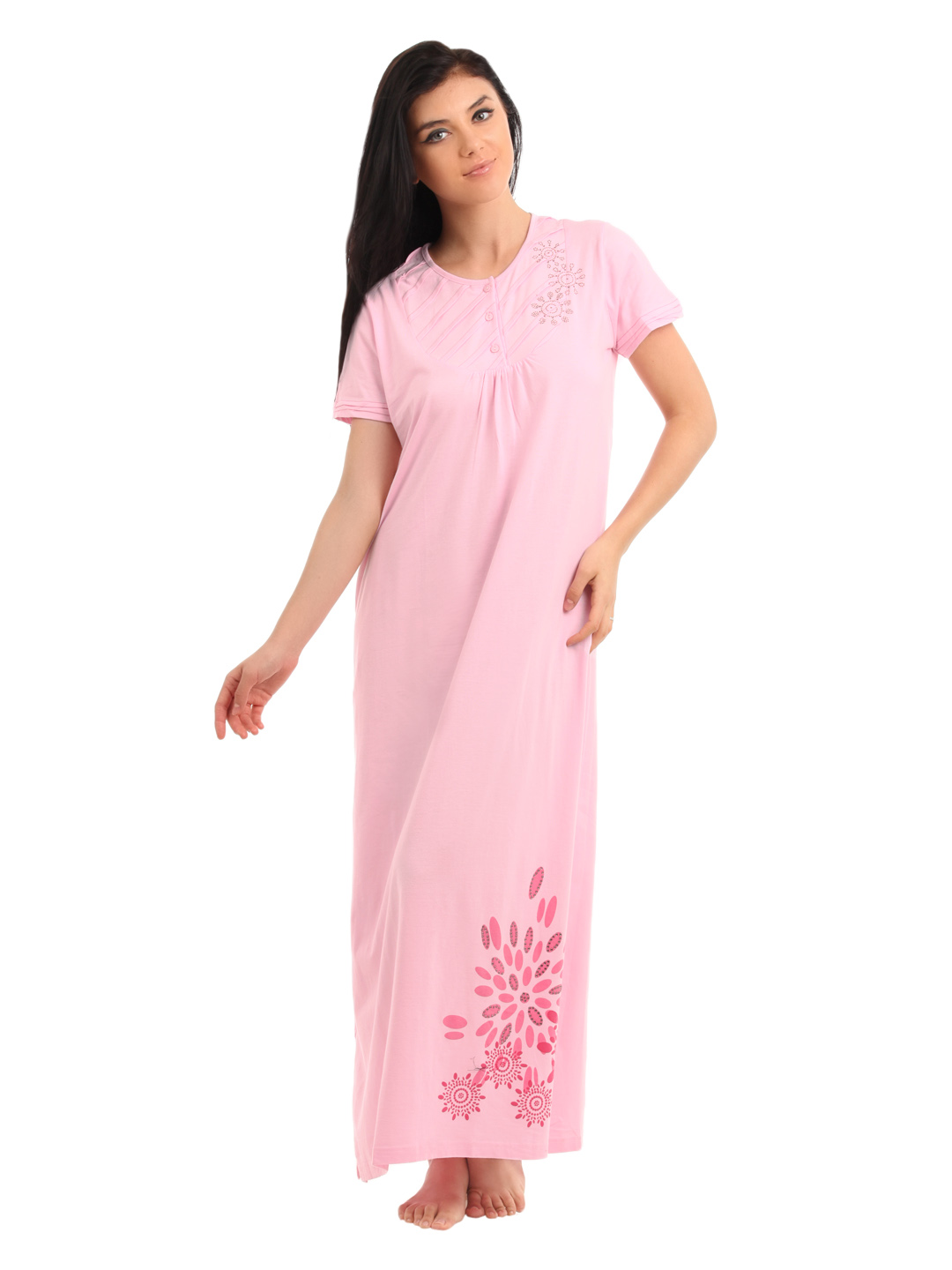 Red Rose Women Pink Nightdress