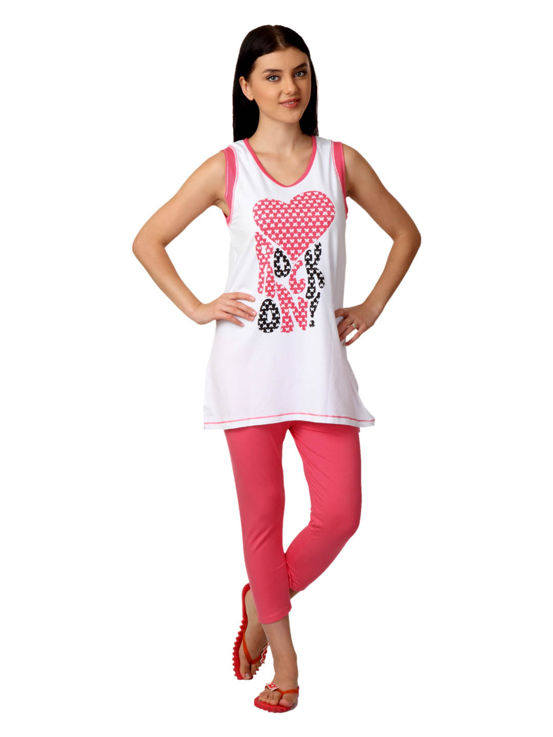 SDL by Sweet Dreams Women White & Pink Pyjama Set