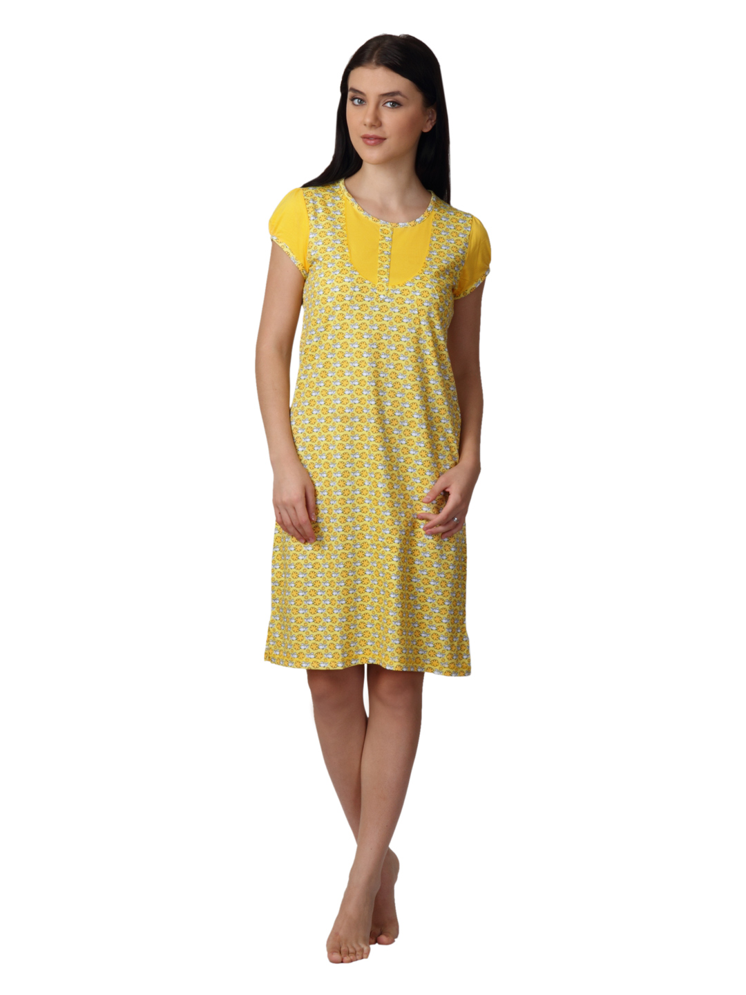 SDL by Sweet Dreams Women Yellow Nightdress