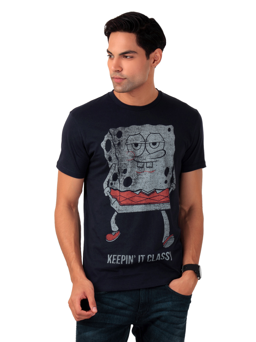 Sponge Bob Men Navy Blue T-shirt