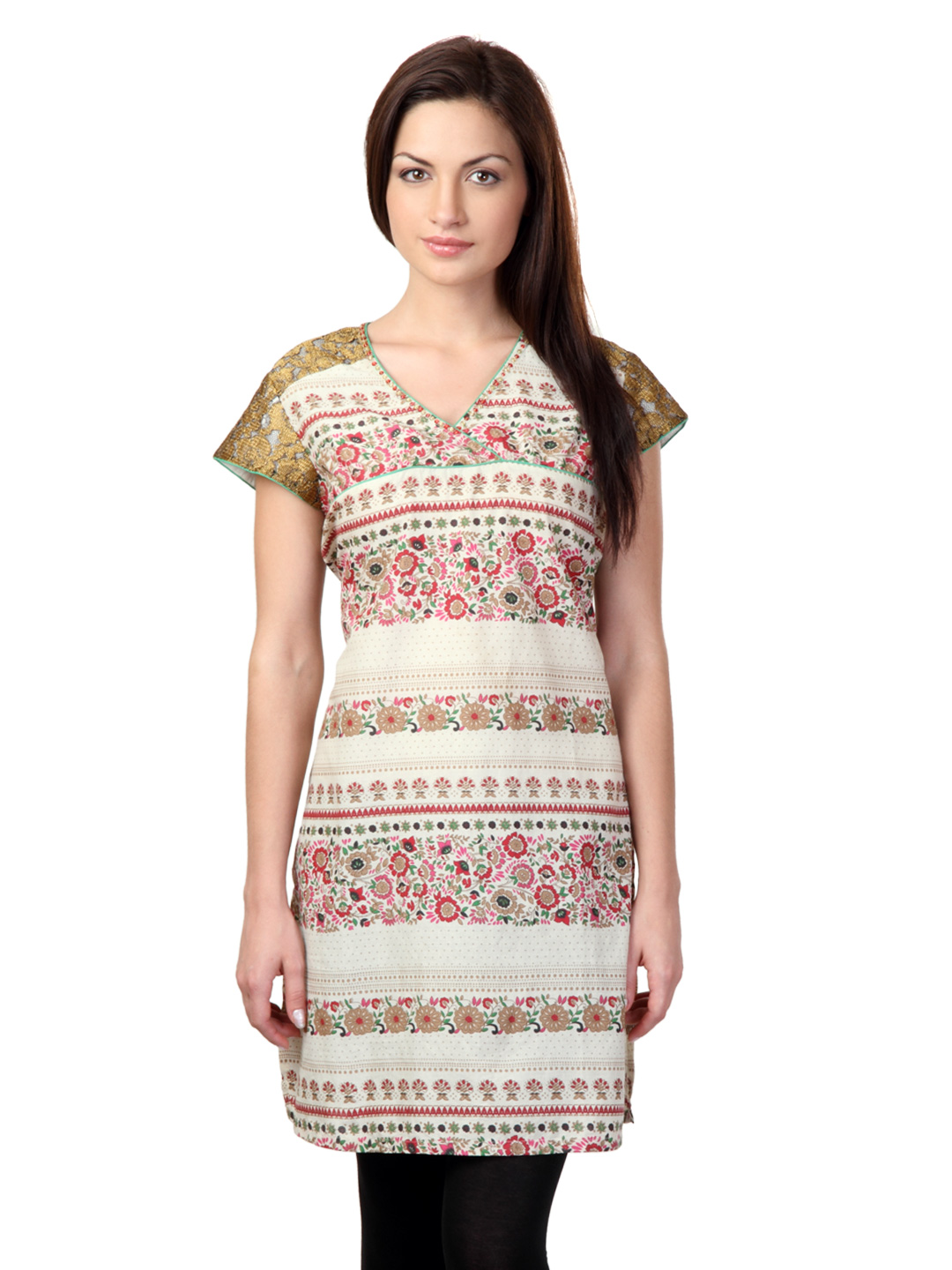 Sritika Women Cream Printed Kurta