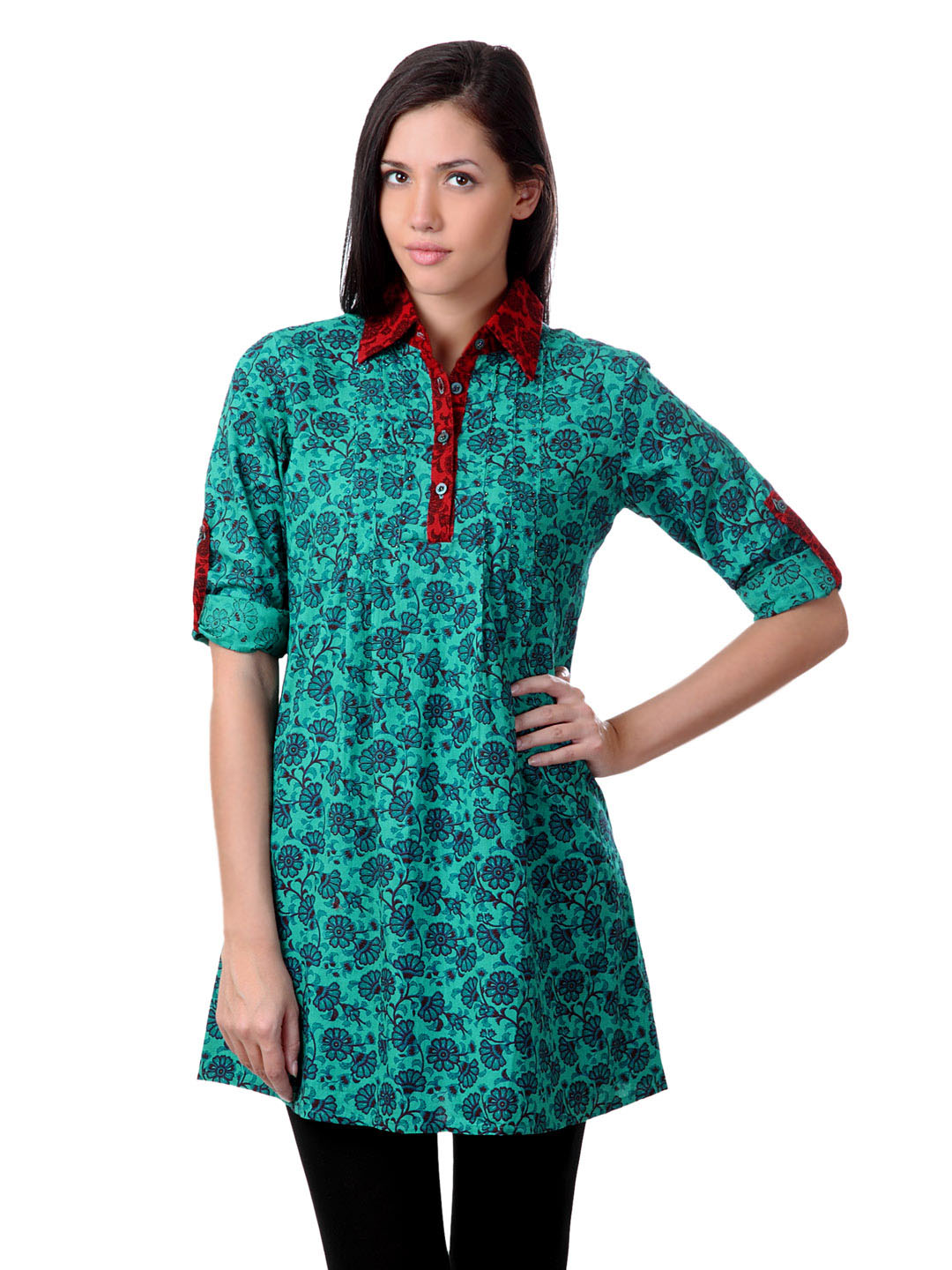 Sushilas Women Printed Green Kurta