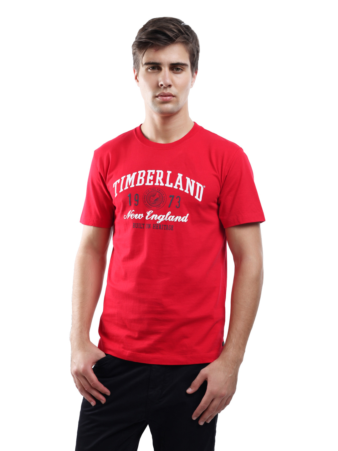 Timberland Men's Linear Logo Red T-shirt