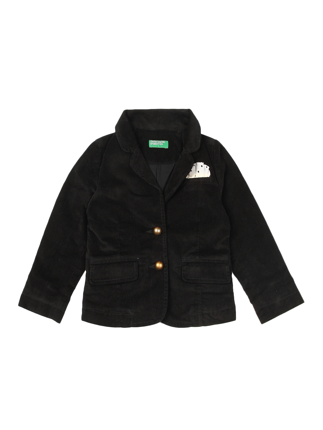 United Colors of Benetton Girls Black Corduroy Blazer