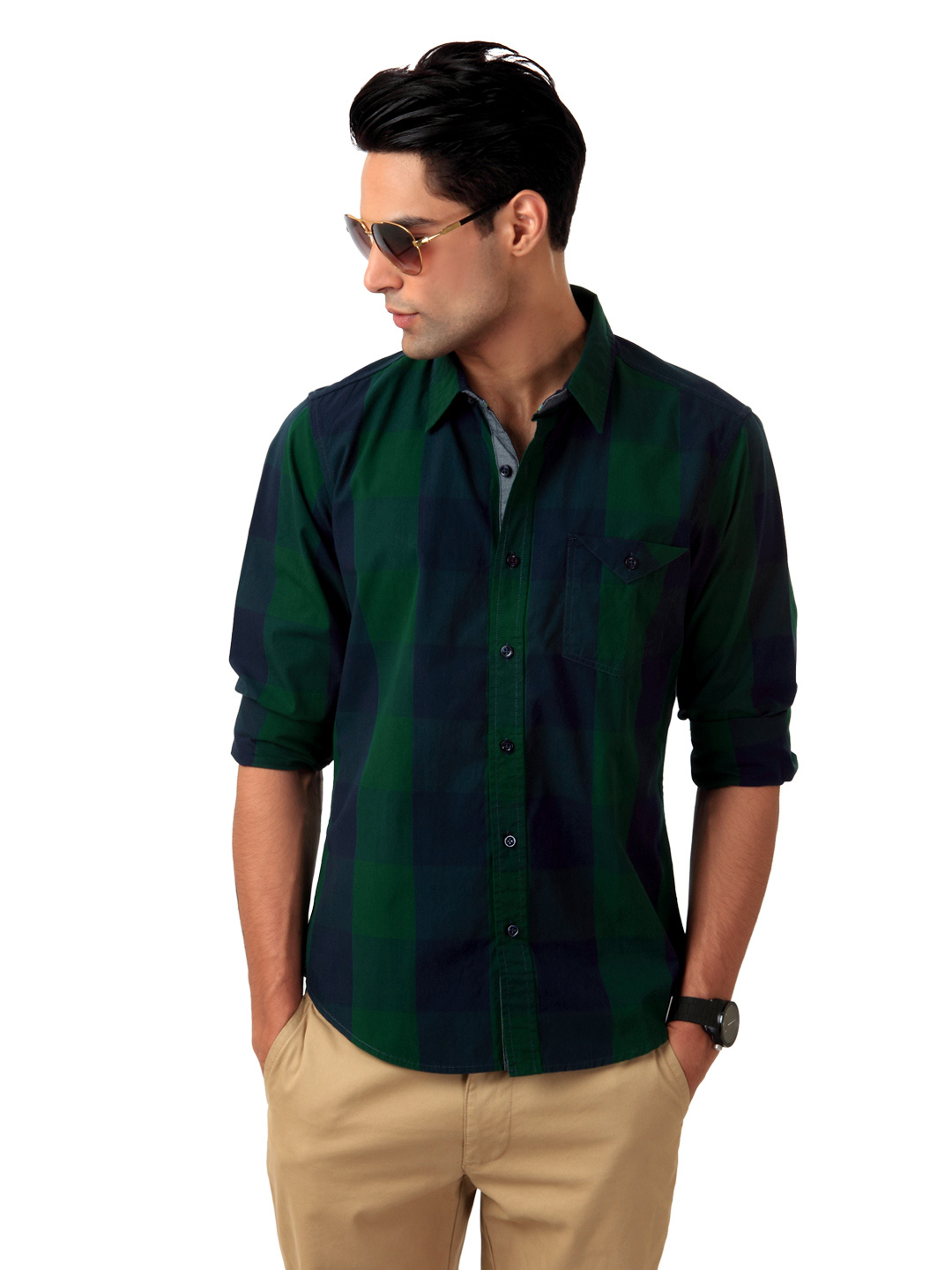 United Colors of Benetton Men Green Check Shirt