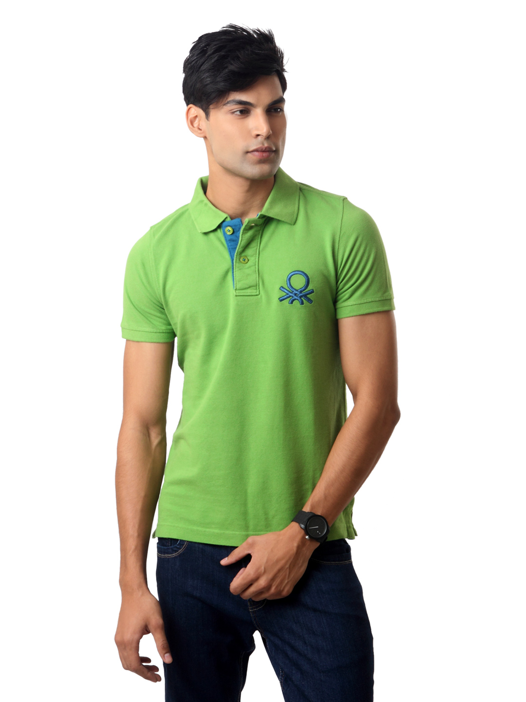 United Colors of Benetton Men Green Polo T-shirt