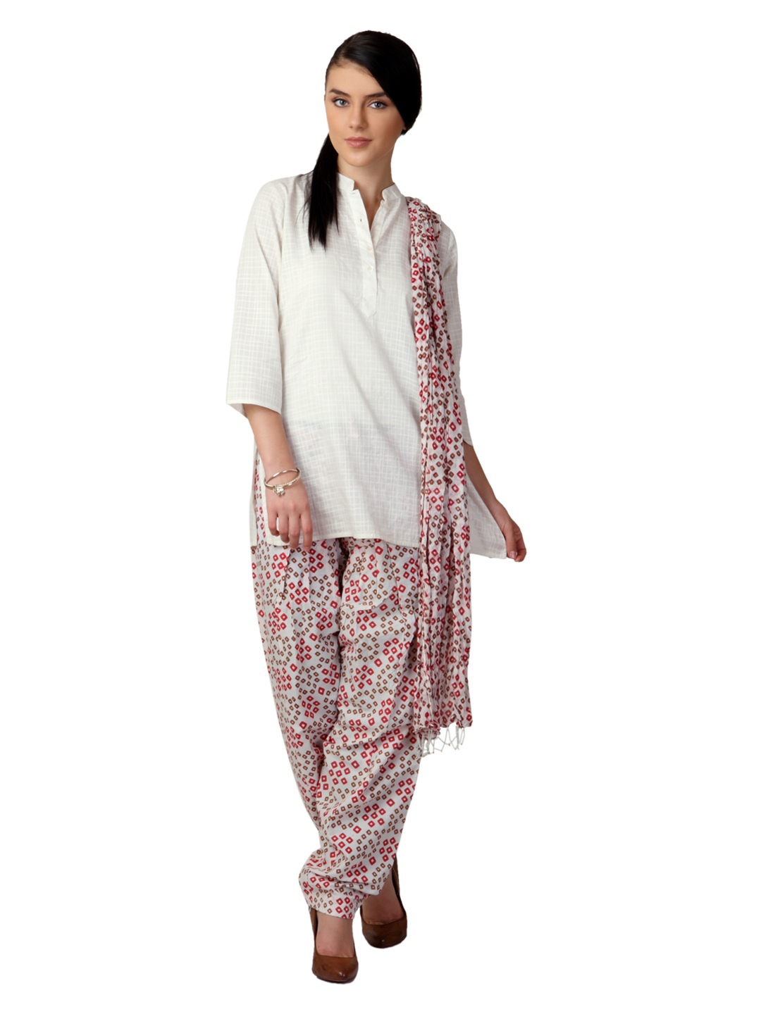 Vishudh Women Printed Cream Salwar and Dupatta