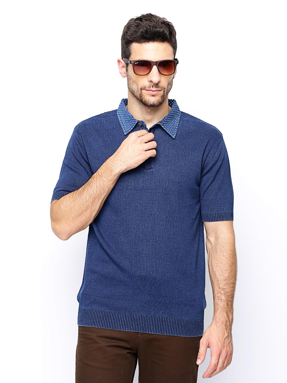 Wills Lifestyle Men Navy Polo Tshirt