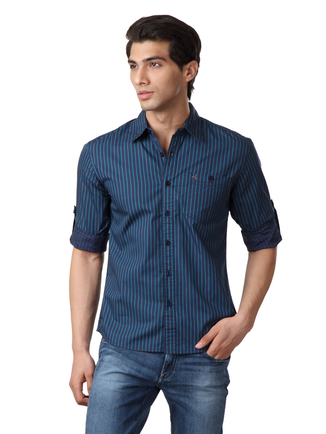 Wrangler Men Navy Blue Shirt