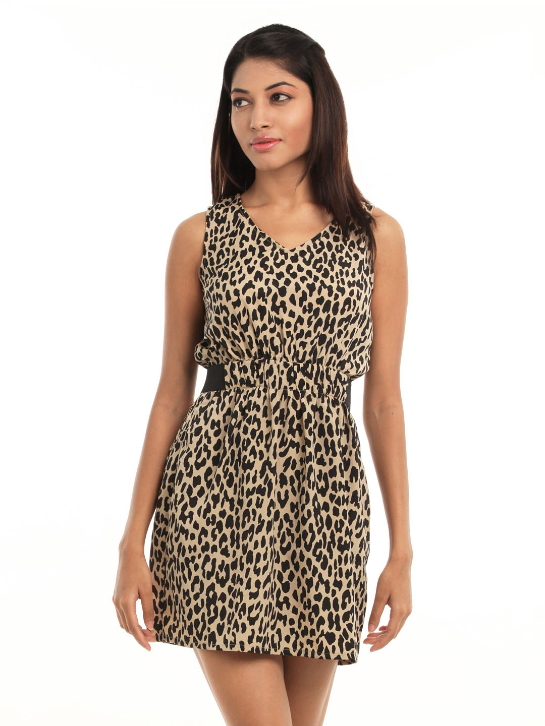 Femella Women Black Animal Printed Dress