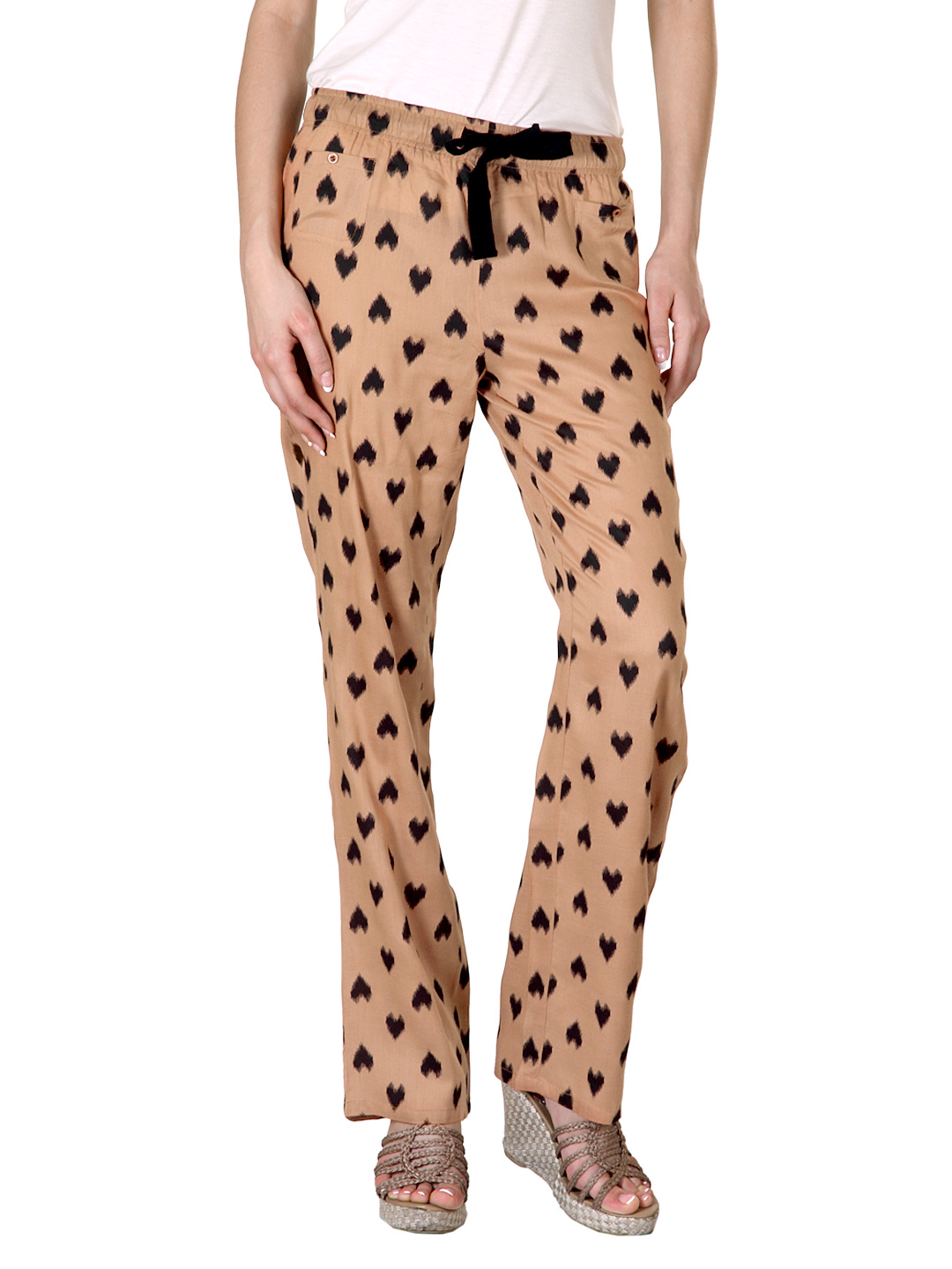 Femella Women Heart Print  Brown Trousers