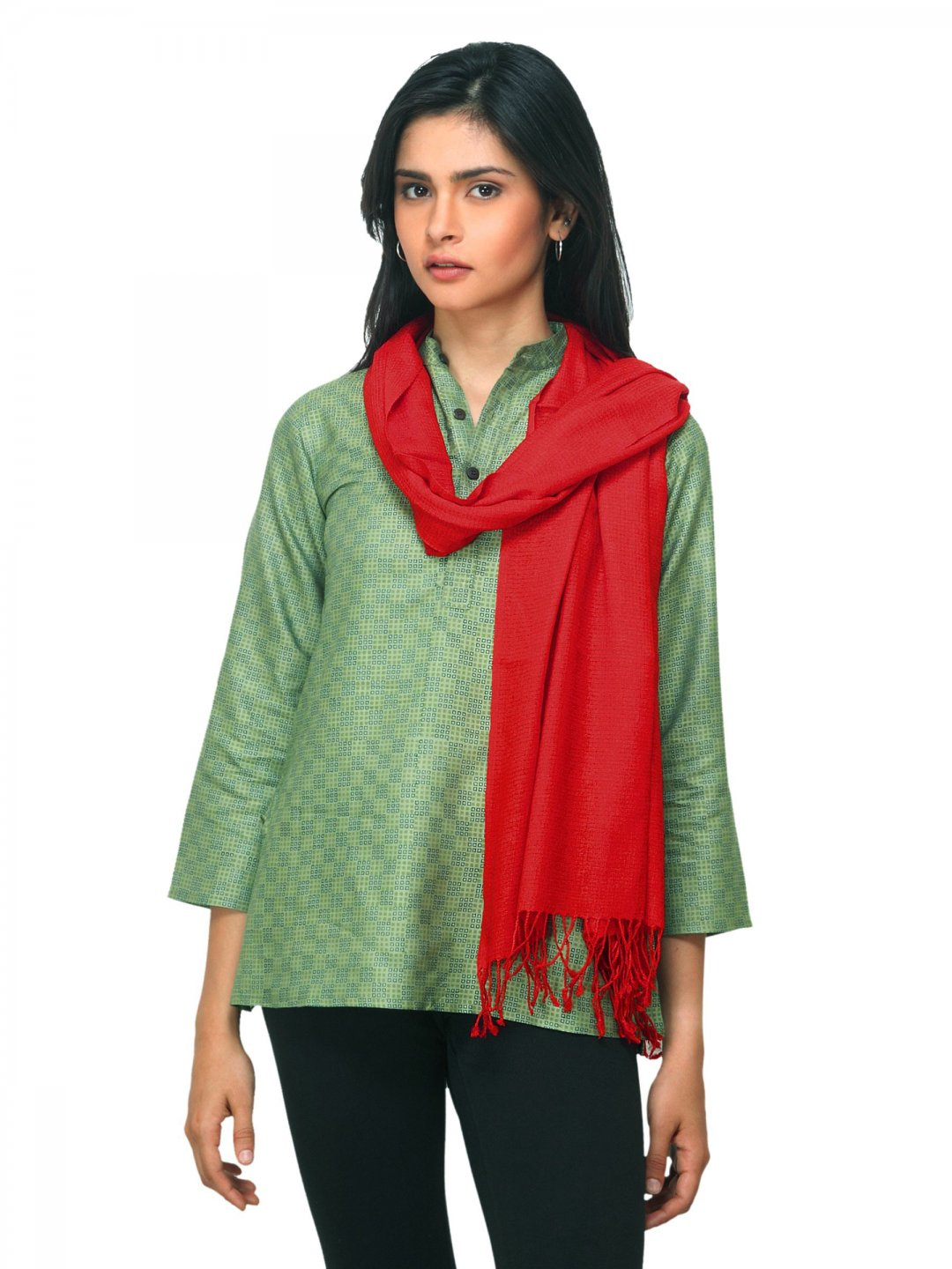 Fabindia Women Red Noil Silk & Wool Stole