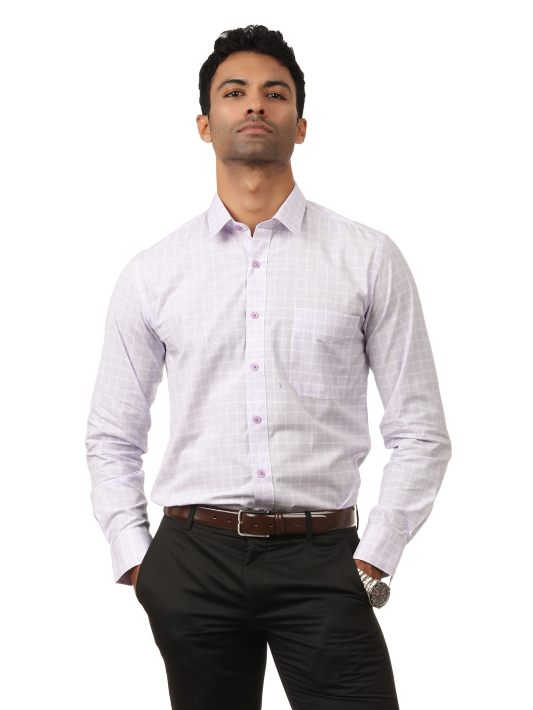 Black Coffee Men Lavender Check Shirt