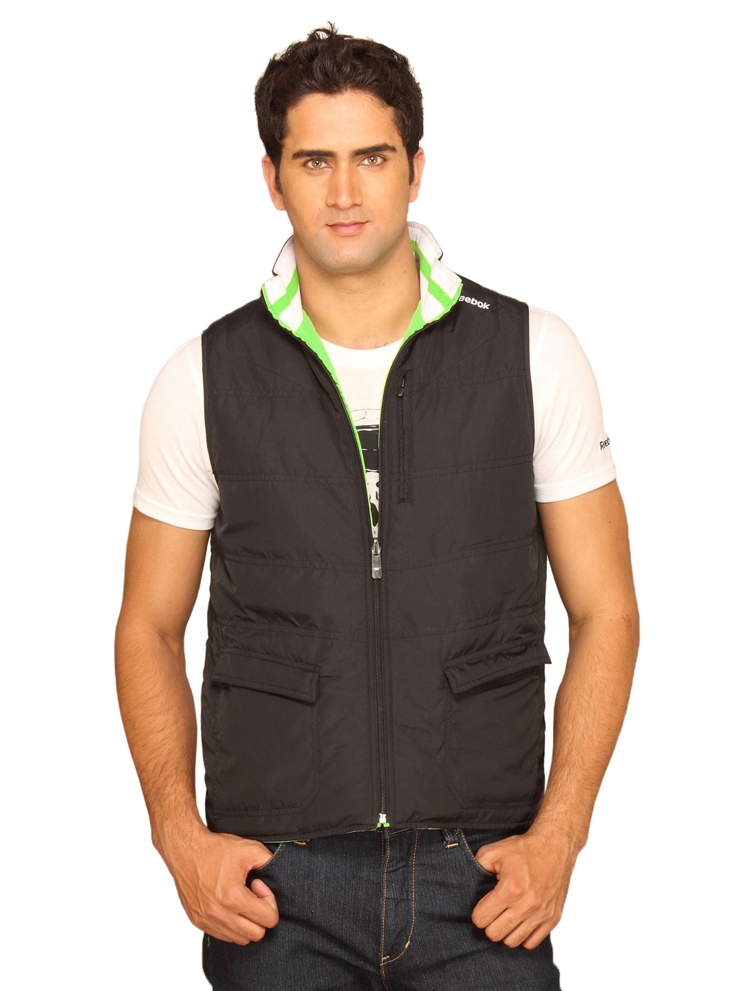 Reebok Men Sport Revesable Black Green Jacket