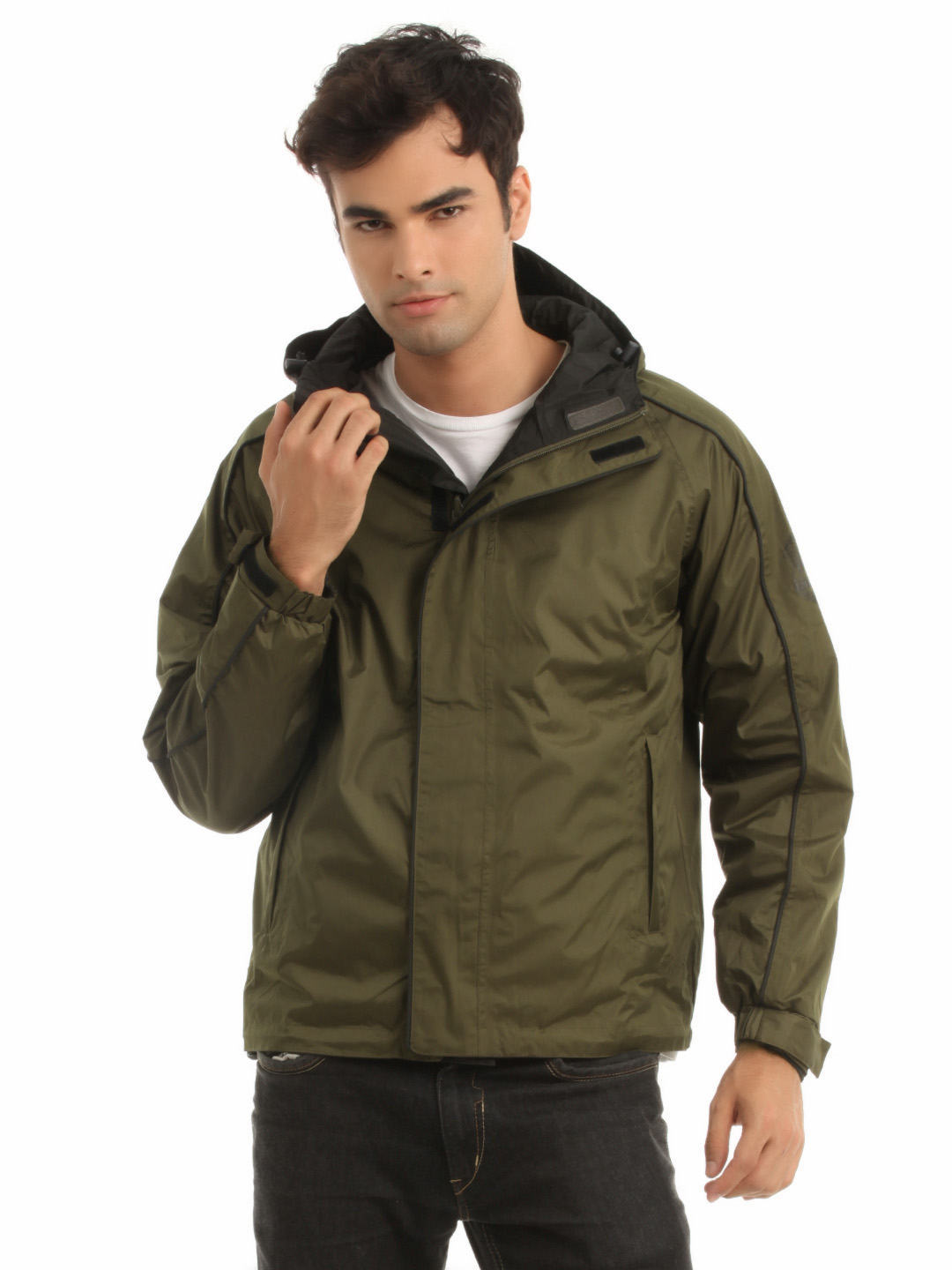 Just Natural Unisex Black and Olive Reversible Rain Jacket