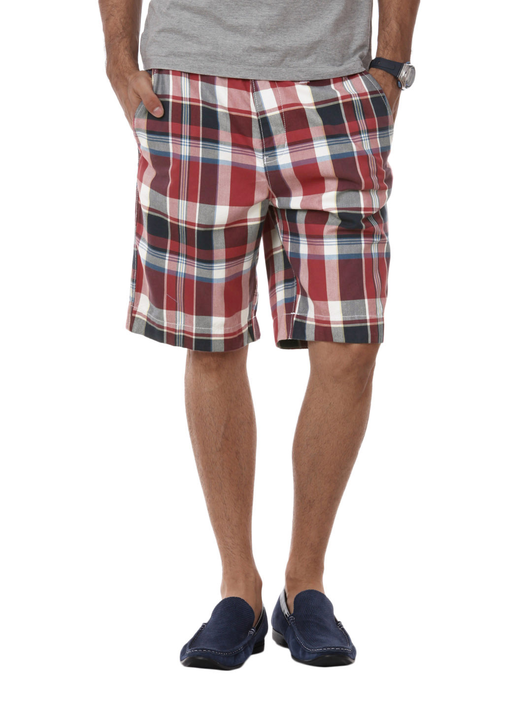 Myntra Men Red Check Shorts