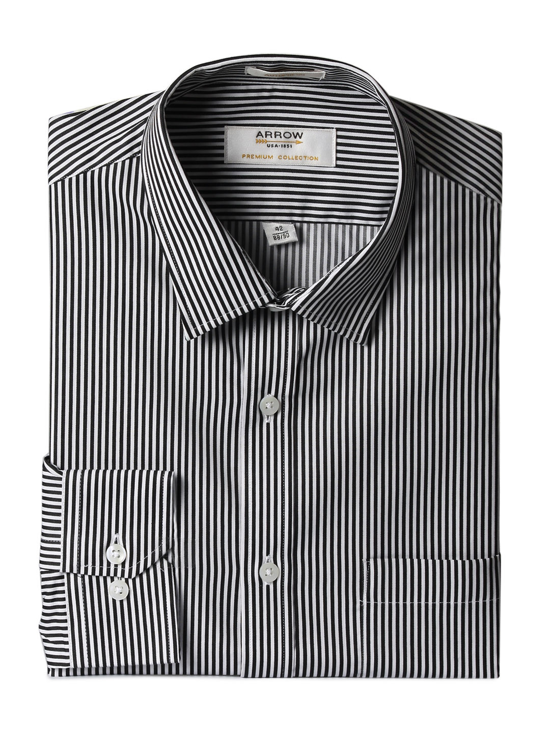 Arrow Men Black Striped Slim Fit Shirt