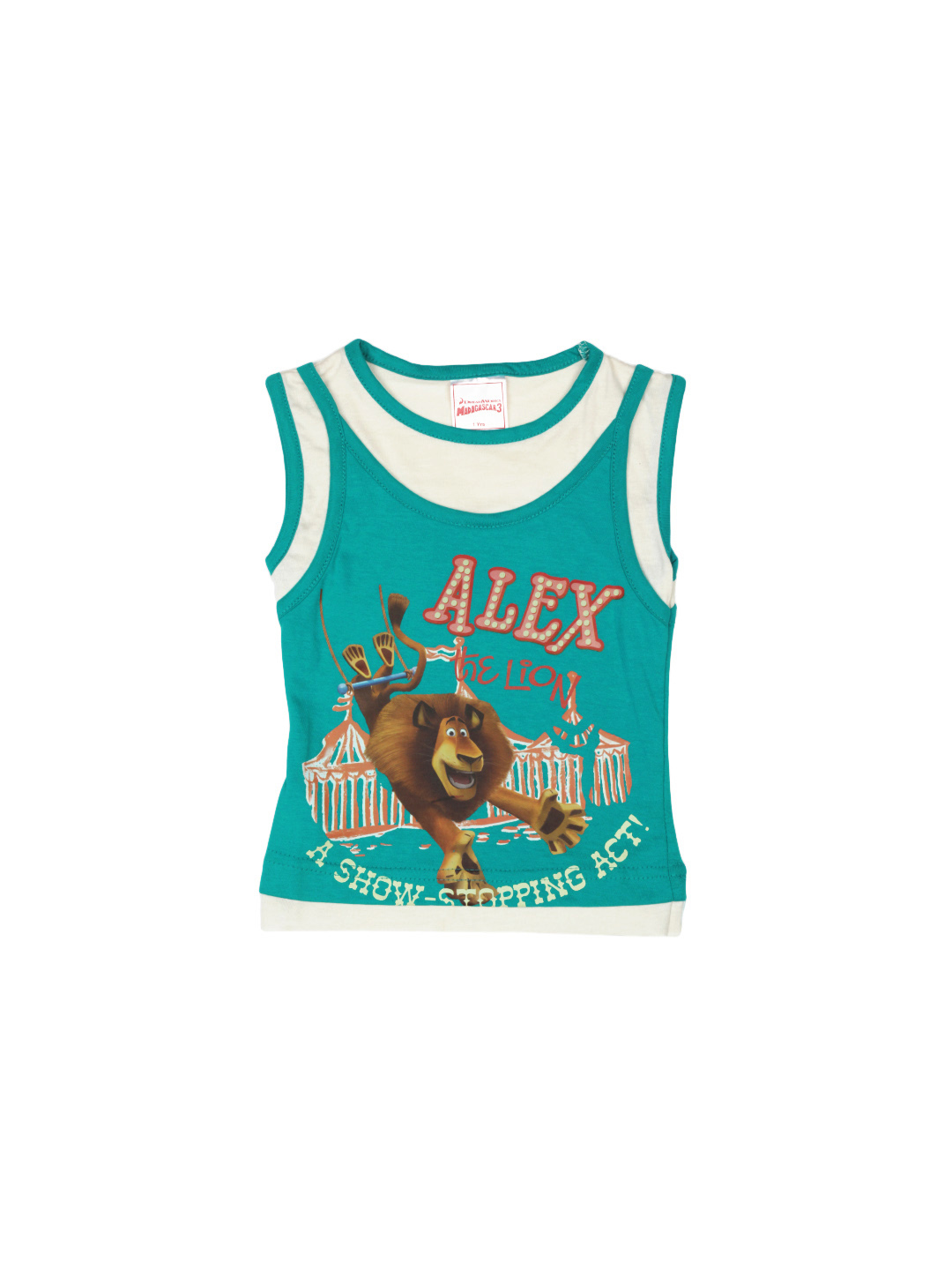 Madagascar3 Girls Teal Printed T-Shirt
