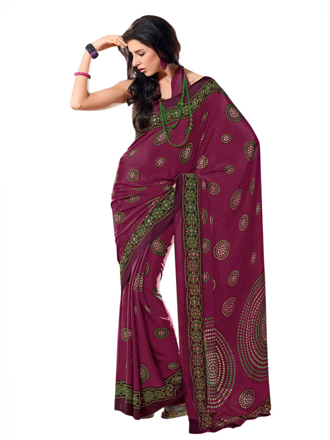 Prafful Purple & Green Sari