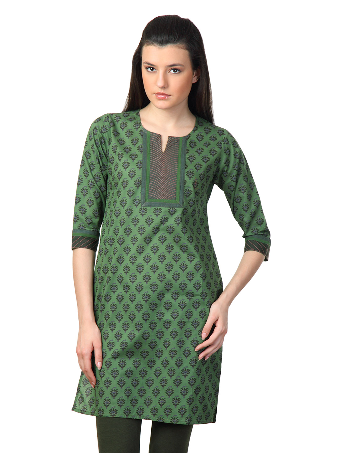 Vishudh Women Green Printed Kurta