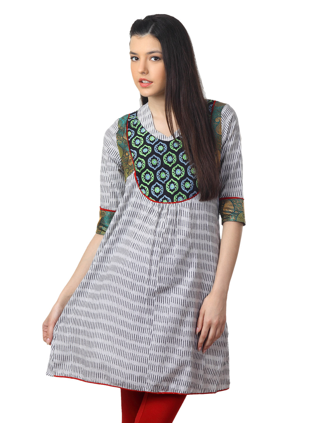 Mother Earth Women White & Black Kurta