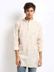 Men Off-White & Yellow Khadi Kurta
