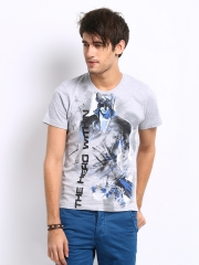 Men Grey Melange Krrish 3 The Hero Within Print T-shirt
