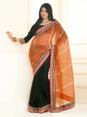 Prathana Orange & Black Cotton Fashion Saree